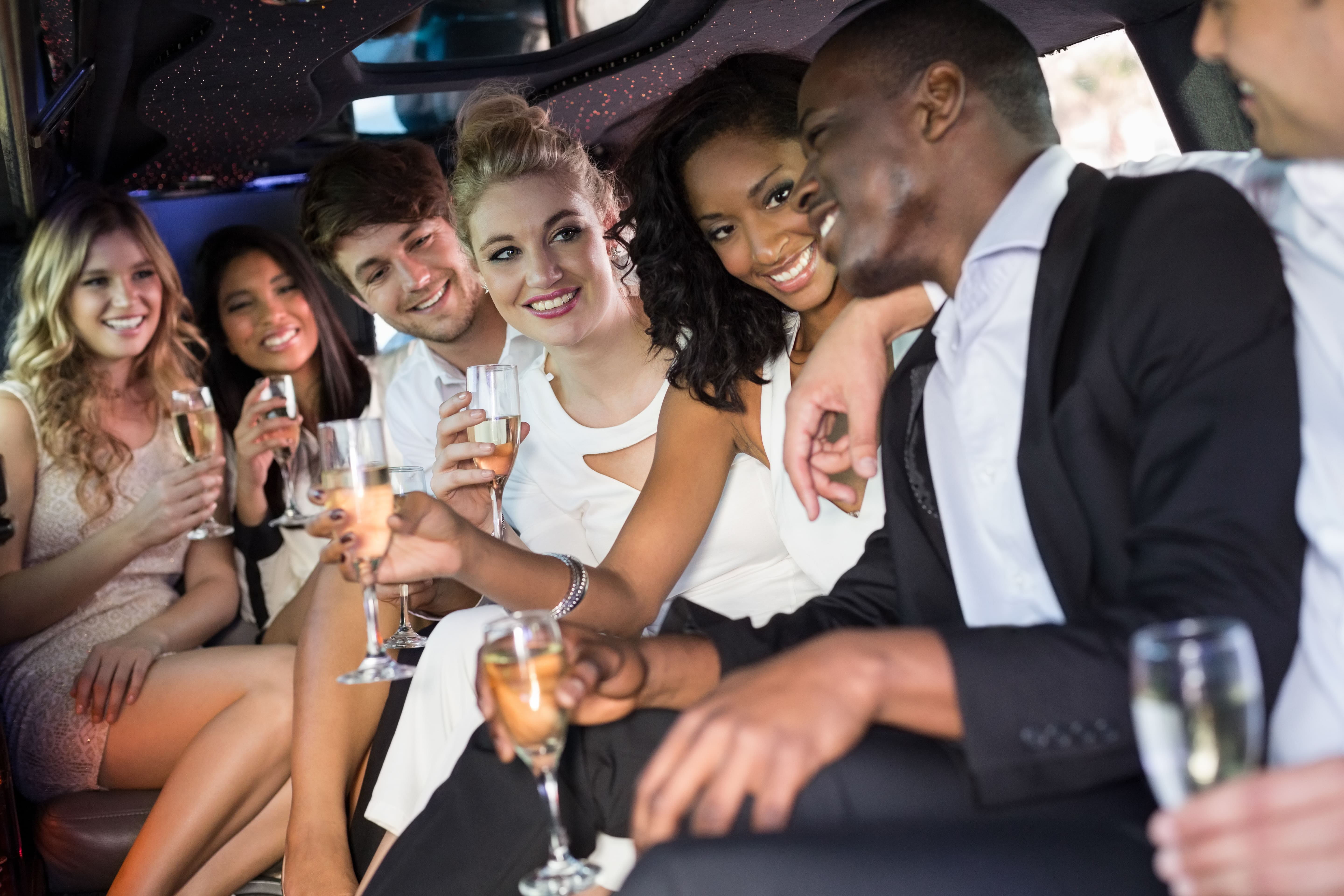 Friends in an SUV Limo
