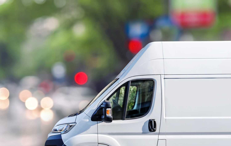 Mercedes Sprinter Van from Coachwest against blurry background