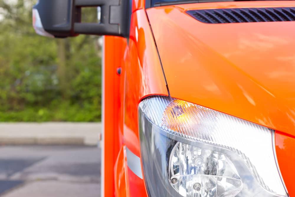 Closeup of sprinter van