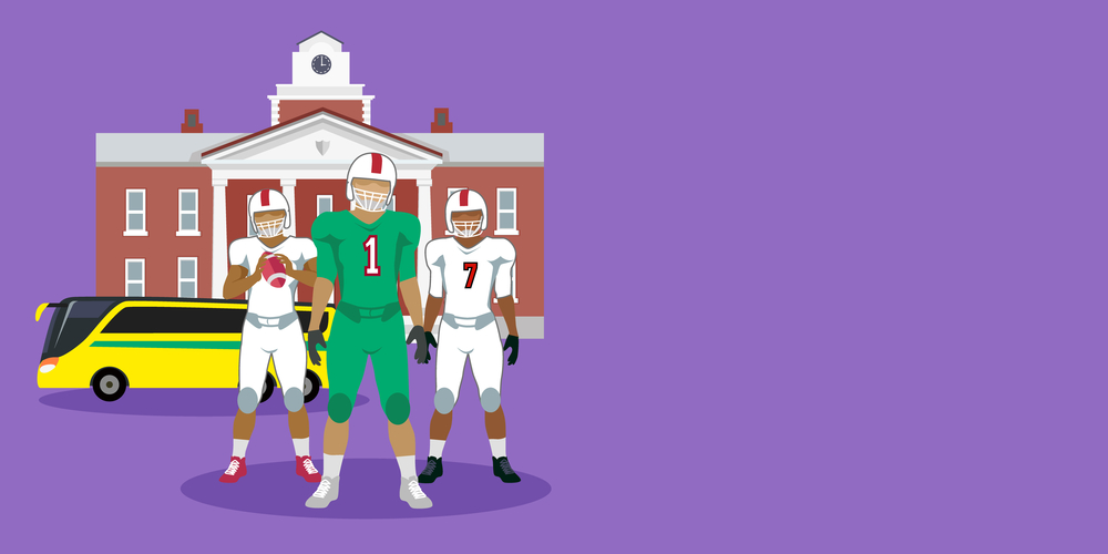Illustration of Football Team in front of Coach Bus