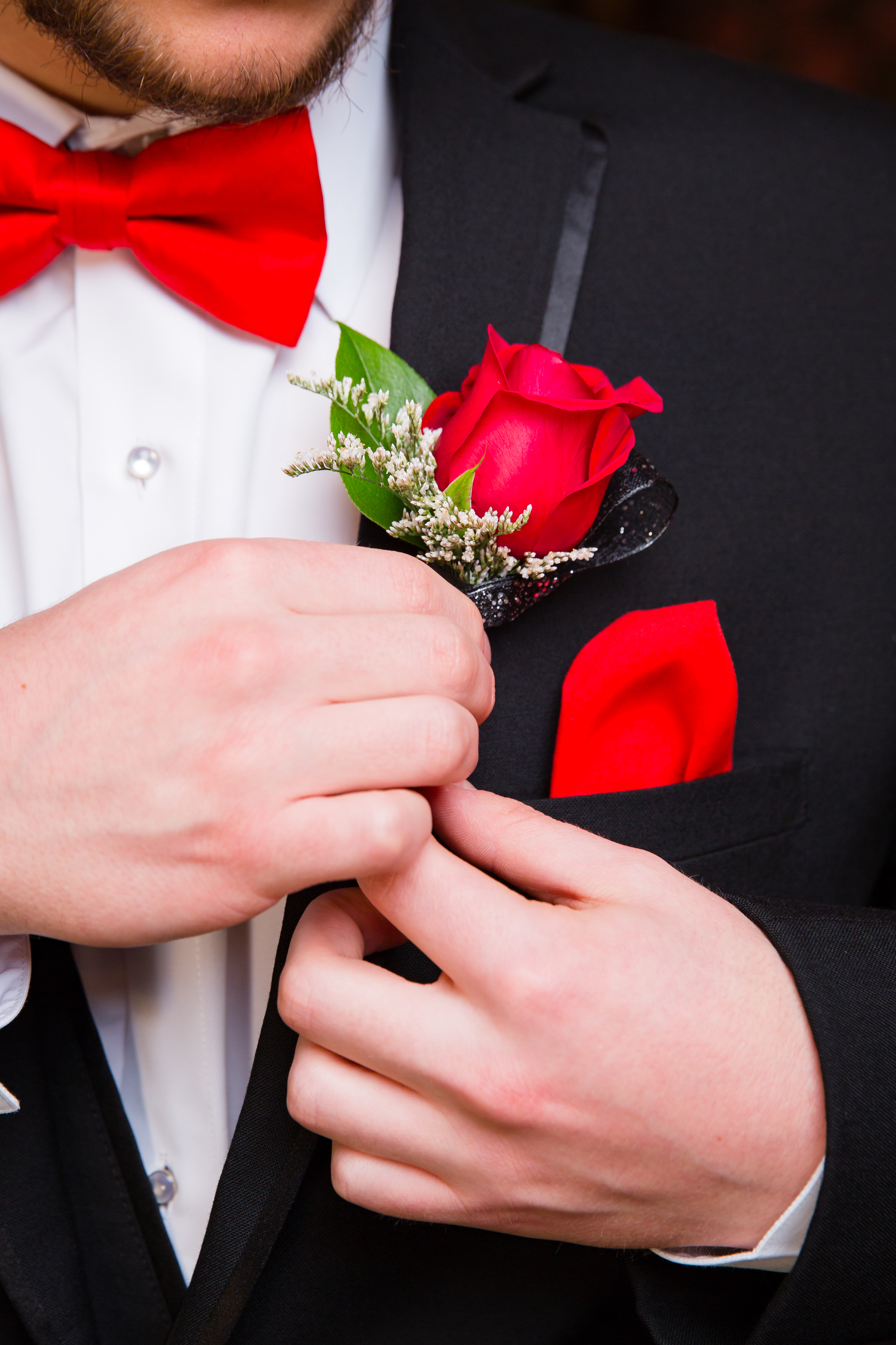 Prom Formal wear Detail of Bow Tie and Boutonniere