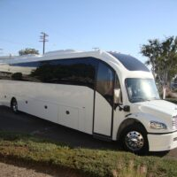 2020 Freightliner Executive Bus Builders SuperCoach 45 XL 3/4 front view passenger side
