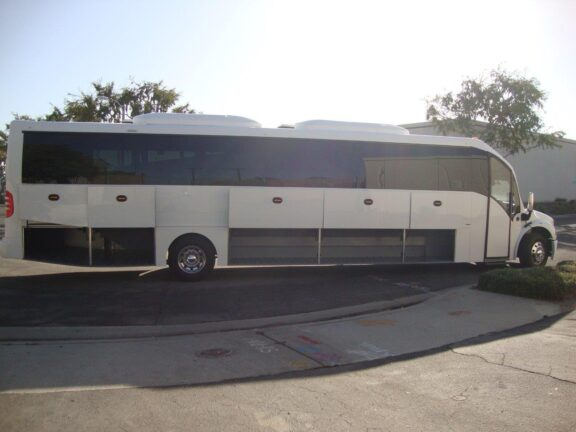 2020 Freightliner Executive Bus Builders SuperCoach 45 XL Side View Passenger Compartments Ajar
