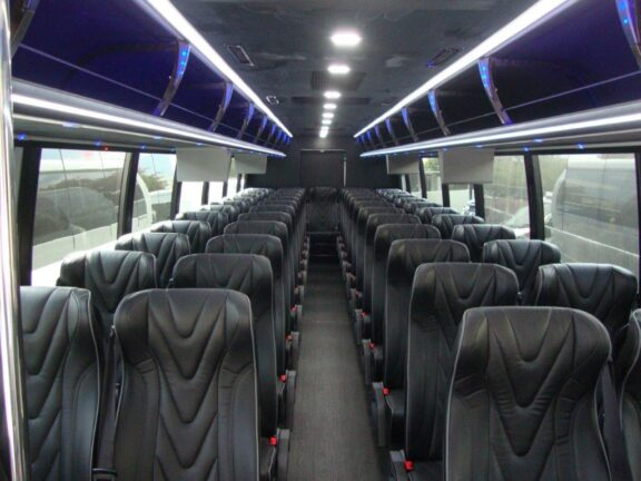 2021 Freightliner Executive Bus Builders ECoach 45 Wide Body Passenger Cabin Aisle View