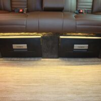 Close-up of closed underseat compartments 2019 Mercedes Benz Executive Coach CEO Sprinter