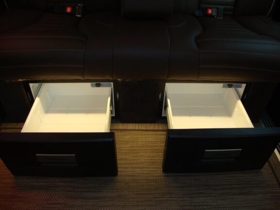 Pulled out drawers underneath seats 2019 Mercedes Benz Executive Coach CEO Sprinter