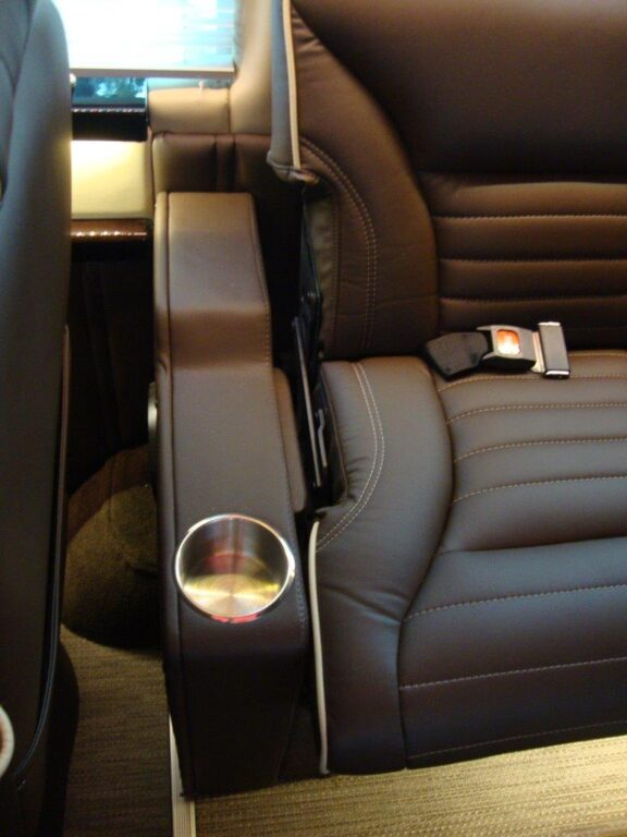 Seat with cupholder close-up 2019 Mercedes Benz Executive Coach CEO Sprinter