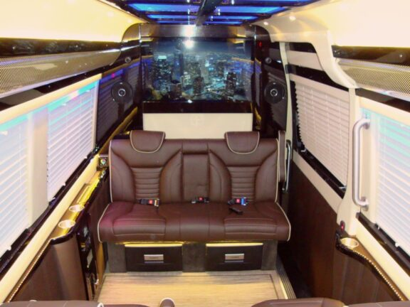 View from the ceiling looking backward 2019 Mercedes Benz Executive Coach CEO Sprinter